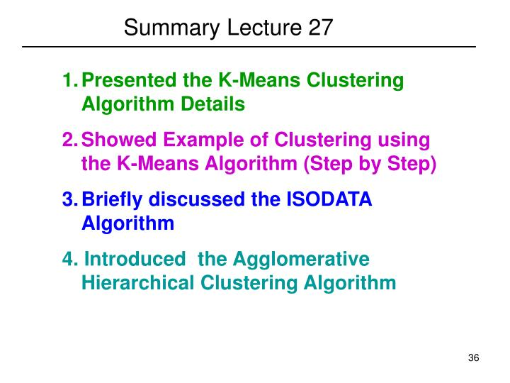 Summary Lecture 27