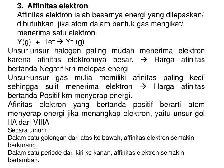 3.  Affinitas elektron