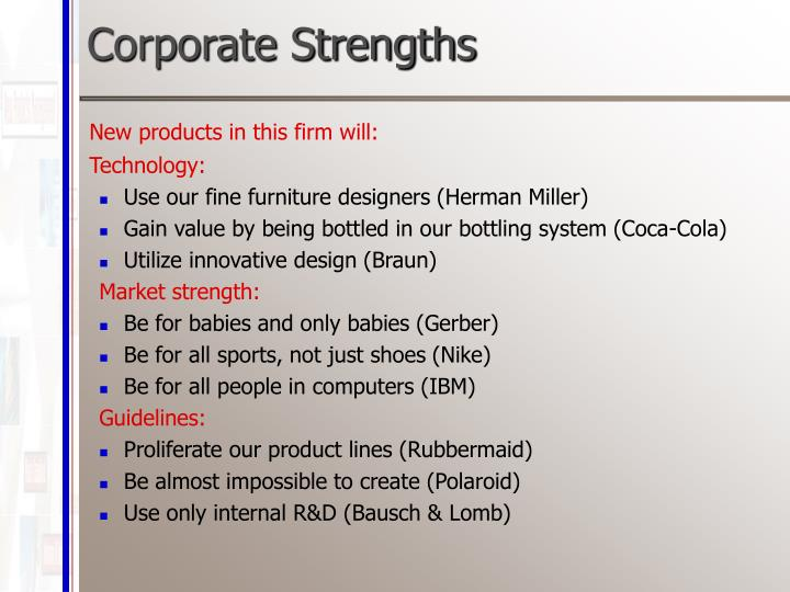 Corporate Strengths