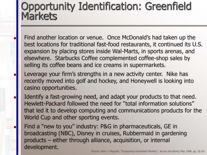 Opportunity Identification: Greenfield Markets
