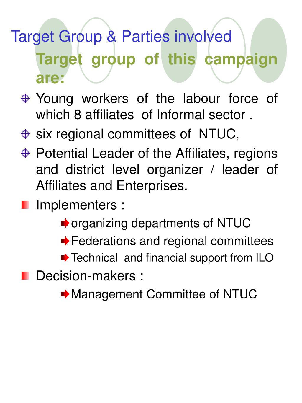 Target Group & Parties involved
