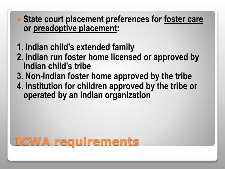 State court placement preferences for