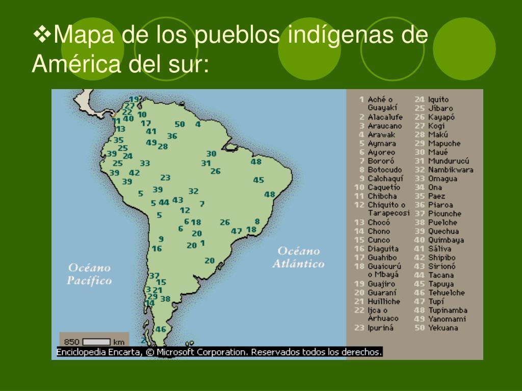 Mapa de los pueblos indígenas de América del sur: