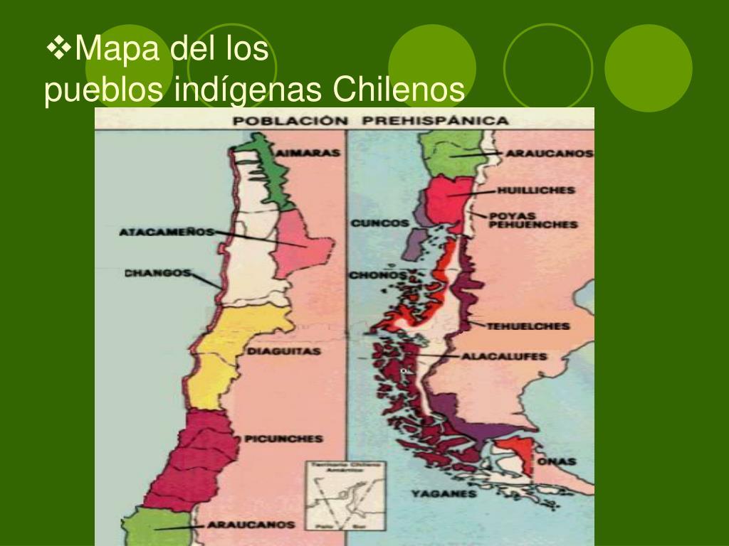 Mapa del los                                                           pueblos indígenas Chilenos