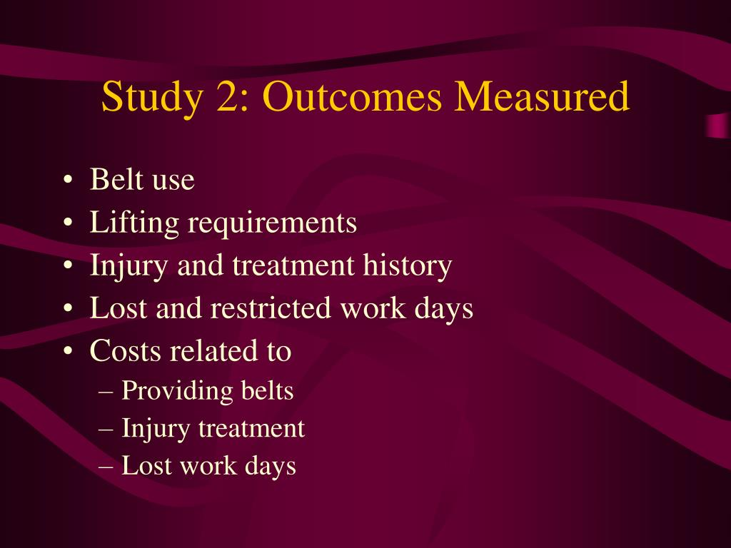 Study 2: Outcomes Measured