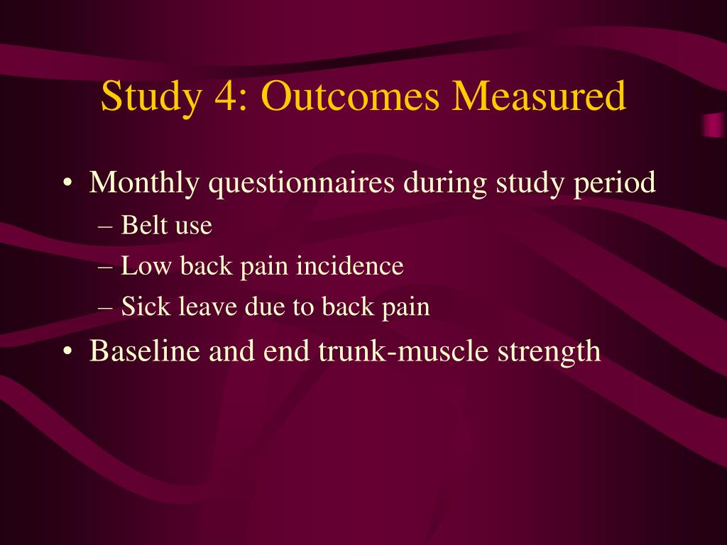 Study 4: Outcomes Measured