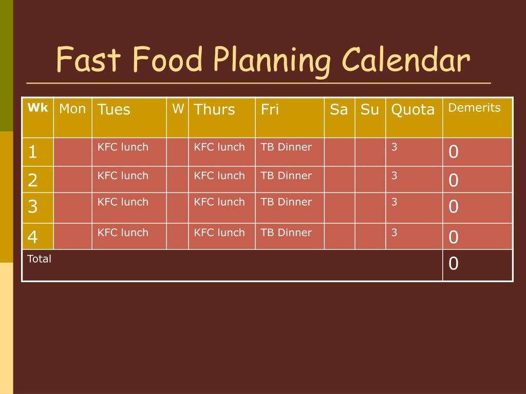 Fast Food Planning Calendar