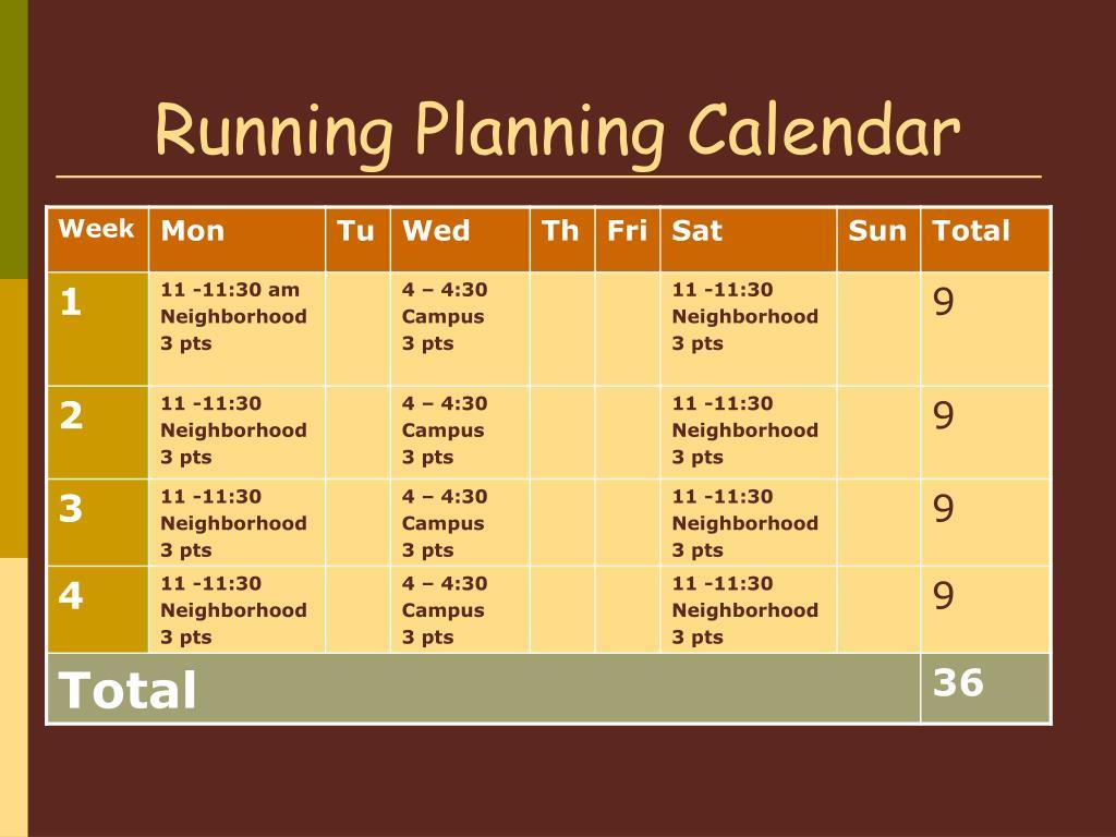 Running Planning Calendar