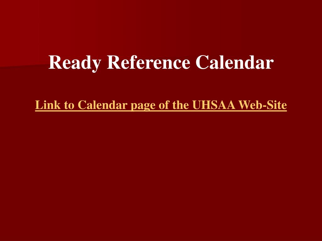 Ready Reference Calendar