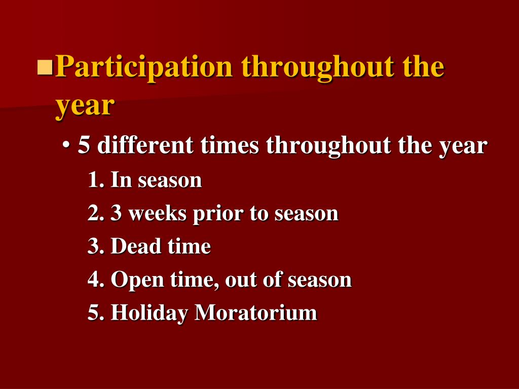Participation throughout the year