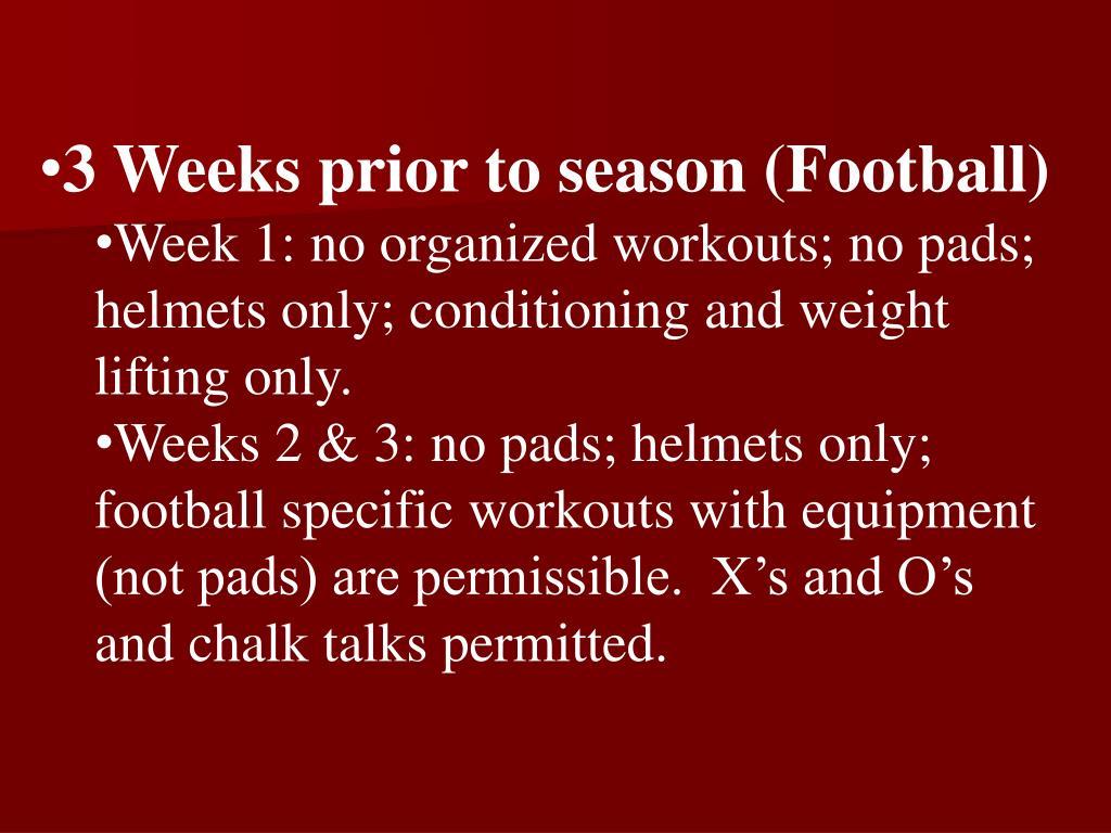 3 Weeks prior to season (Football)