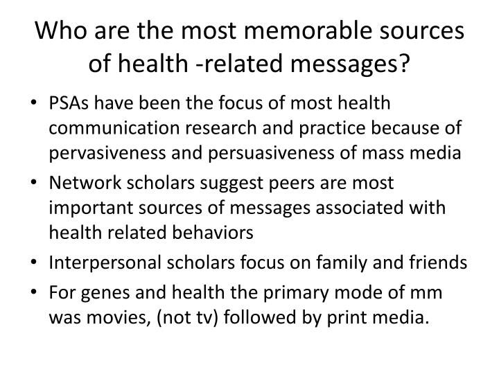 Who are the most memorable sources of health -related messages?