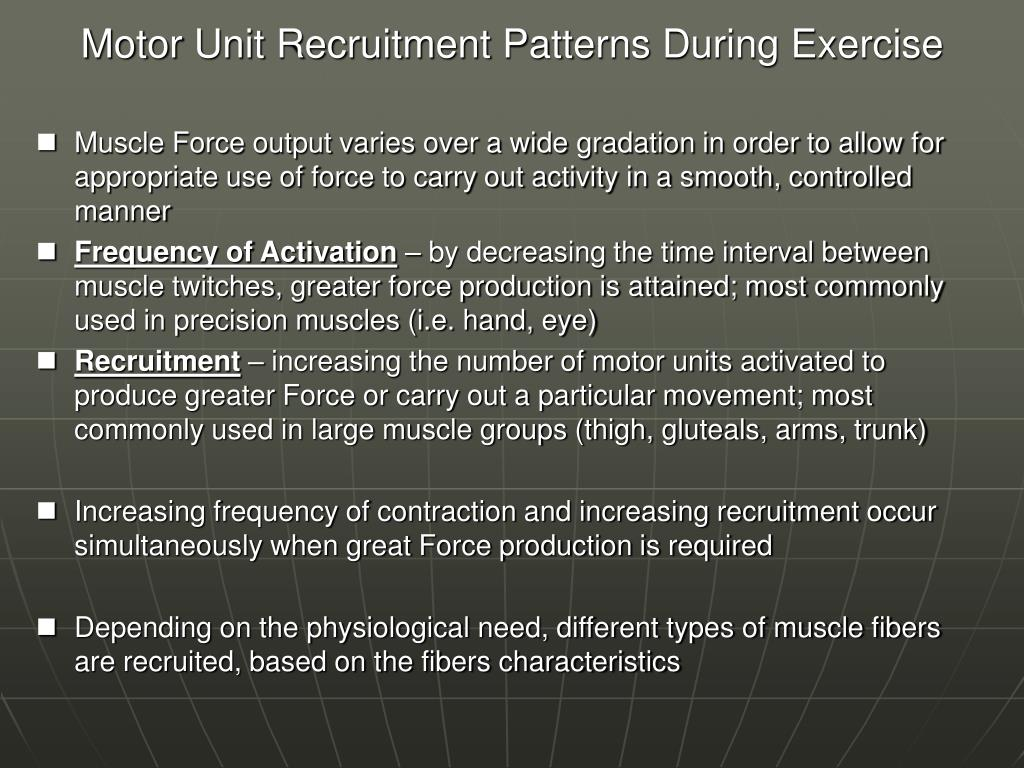 Motor Unit Recruitment Patterns During Exercise