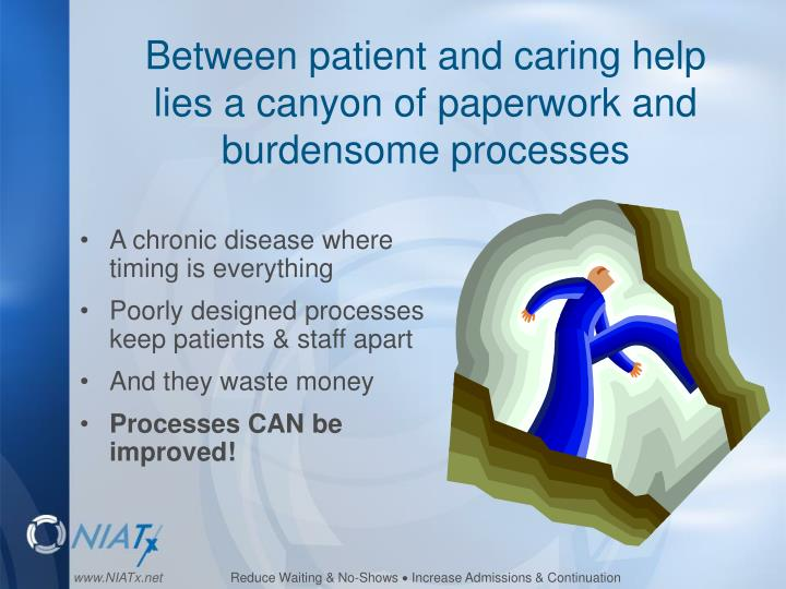 Between patient and caring help       lies a canyon of paperwork and  burdensome processes