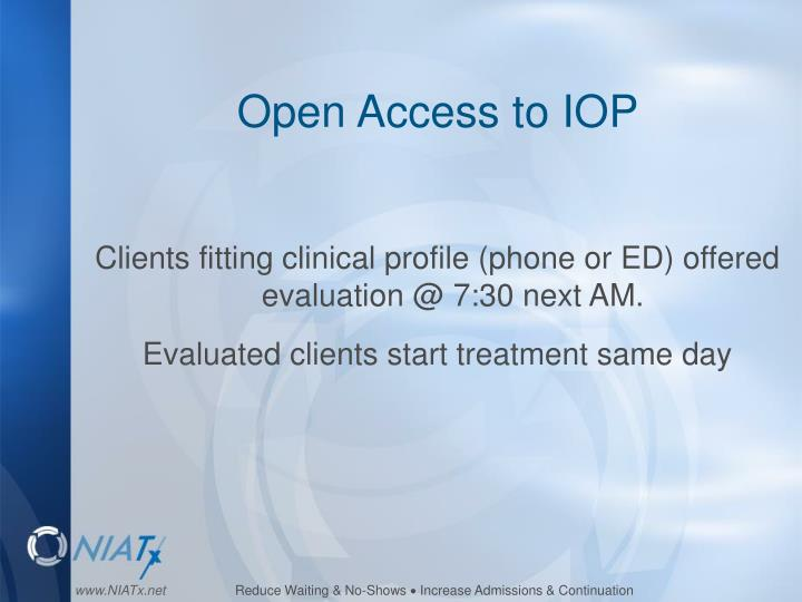 Open Access to IOP