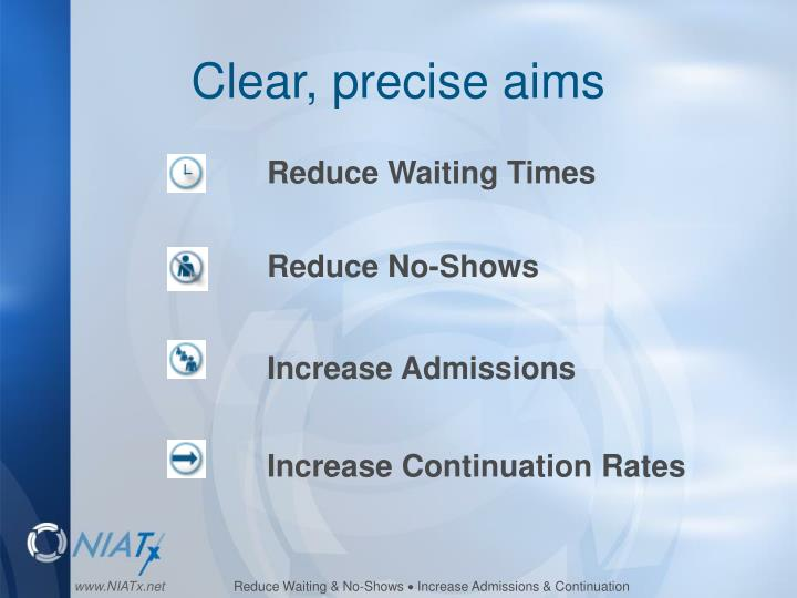 Clear, precise aims