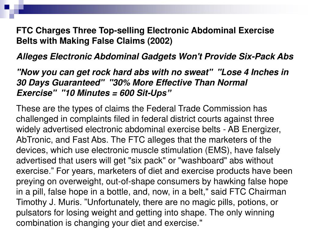 FTC Charges Three Top-selling Electronic Abdominal Exercise Belts with Making False Claims (2002)