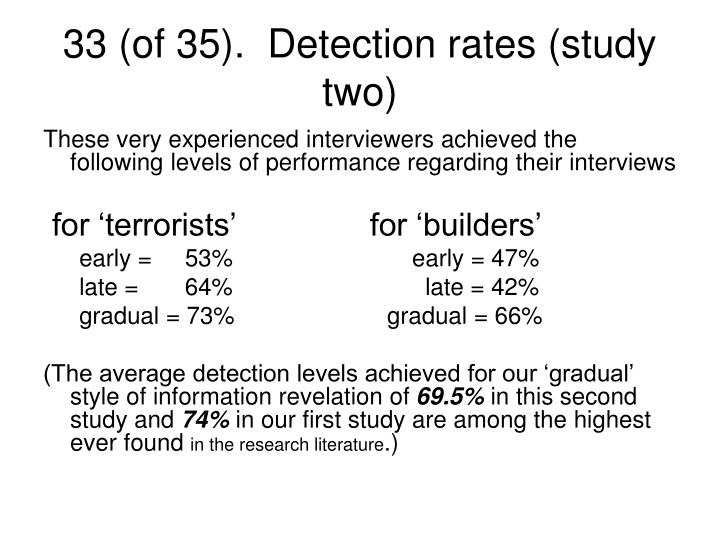 33 (of 35).  Detection rates (study two)