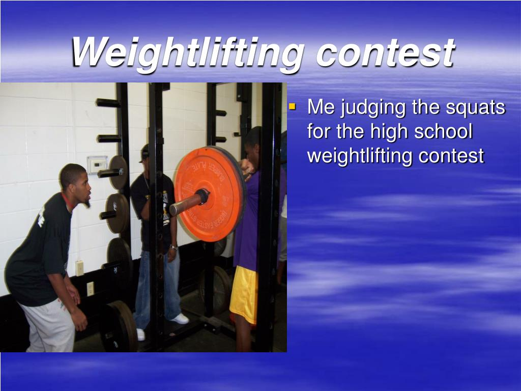 Me judging the squats for the high school weightlifting contest