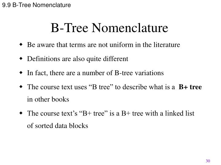 9.9 B-Tree Nomenclature