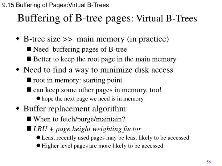 9.15 Buffering of Pages:Virtual B-Trees