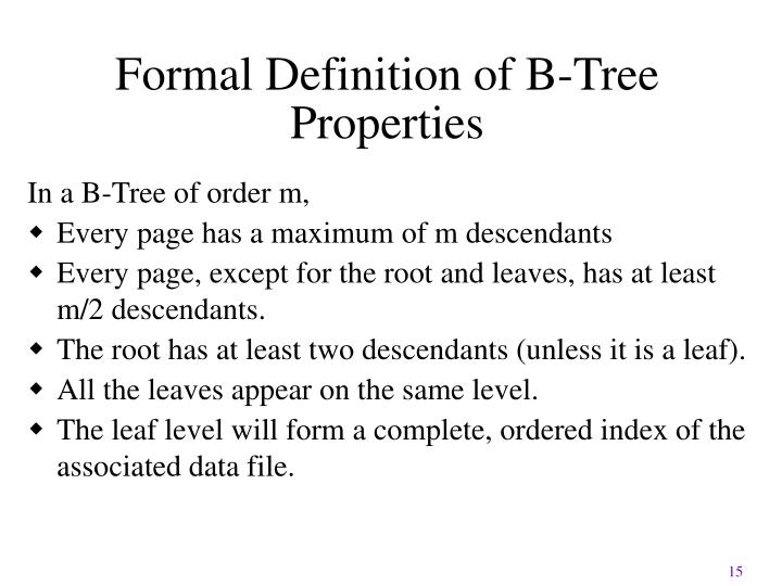 Formal Definition of B-Tree Properties