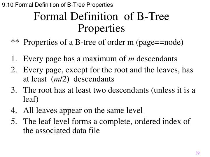 9.10 Formal Definition of B-Tree Properties