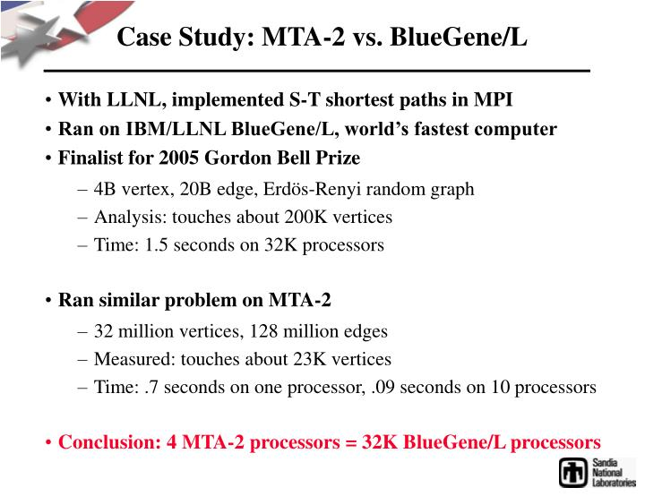 Case Study: MTA-2 vs. BlueGene/L