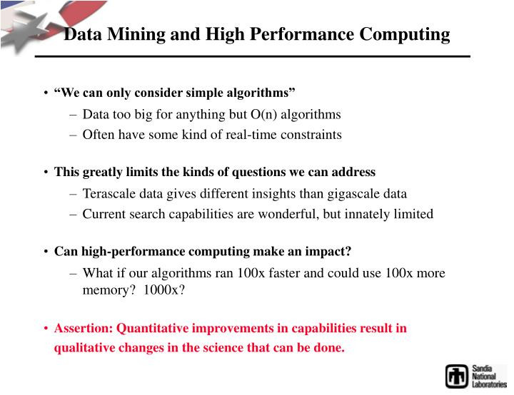Data mining and high performance computing