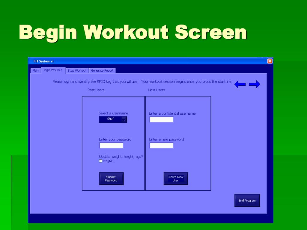 Begin Workout Screen
