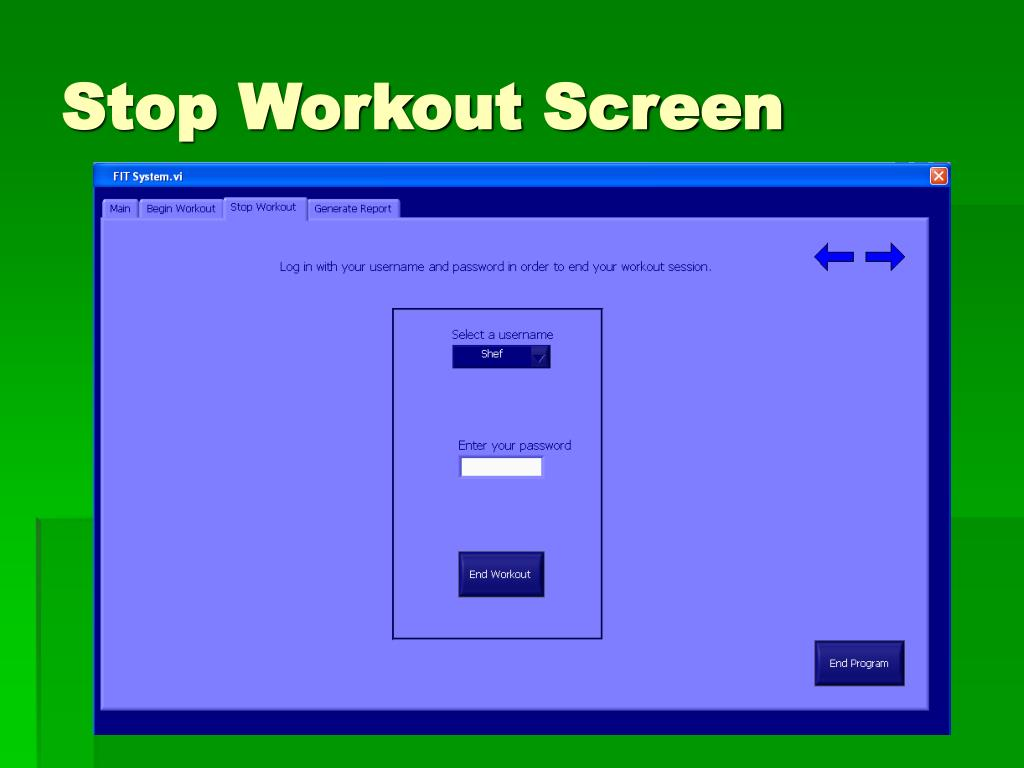 Stop Workout Screen