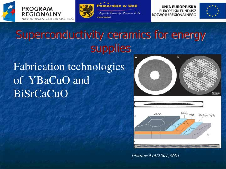 Superconductivity ceramics for energy supplies