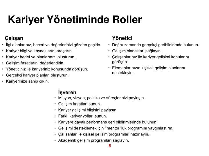 Kariyer Yönetiminde Roller