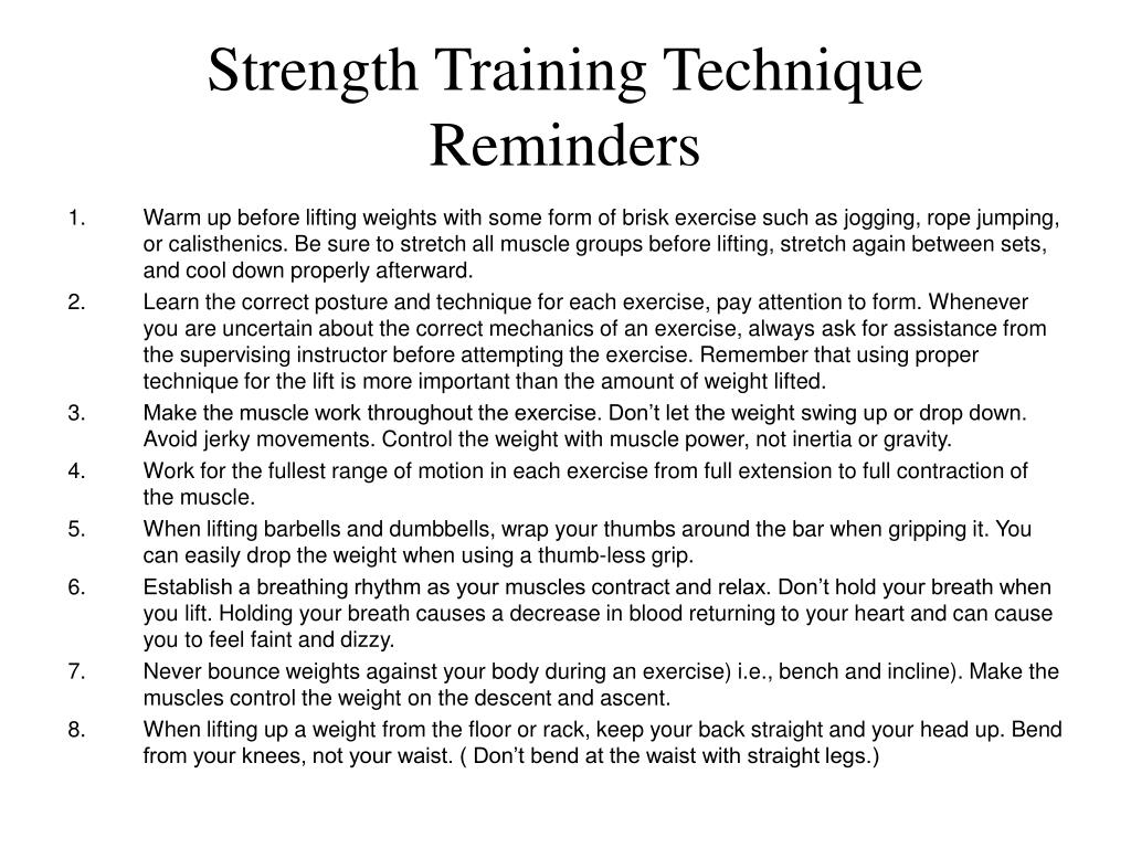 Strength Training Technique Reminders