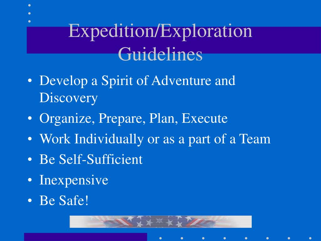 Expedition/Exploration  Guidelines