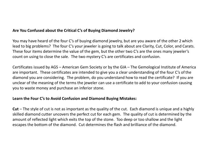 Are You Confused about the Critical C's of Buying Diamond Jewelry