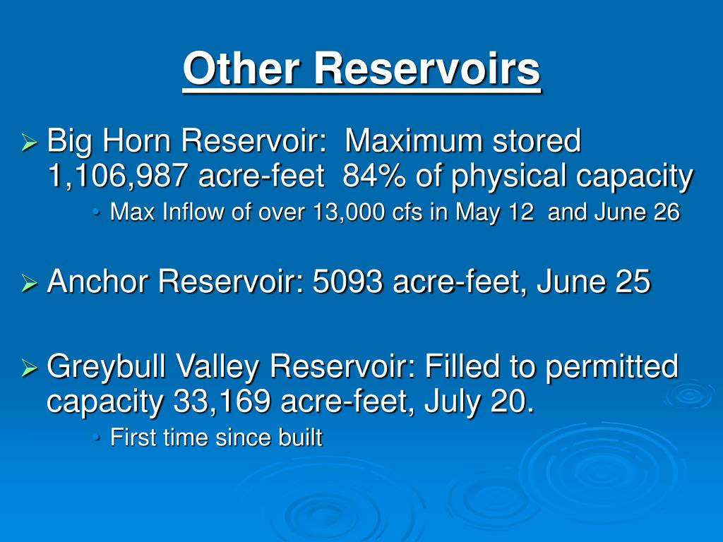 Other Reservoirs