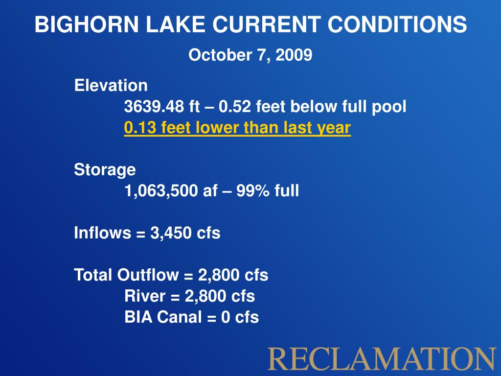 BIGHORN LAKE CURRENT CONDITIONS
