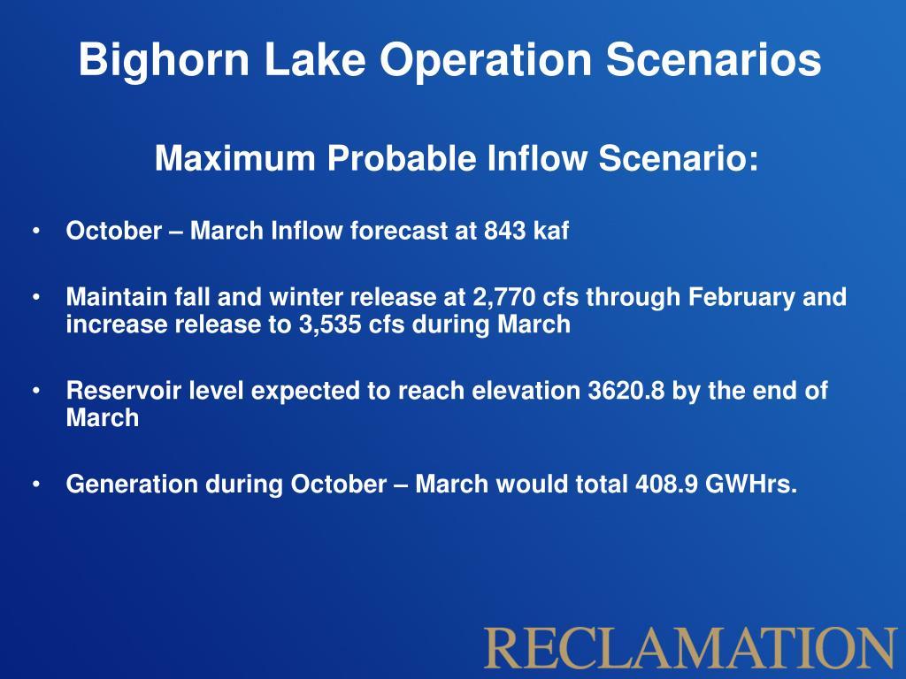 Bighorn Lake Operation Scenarios
