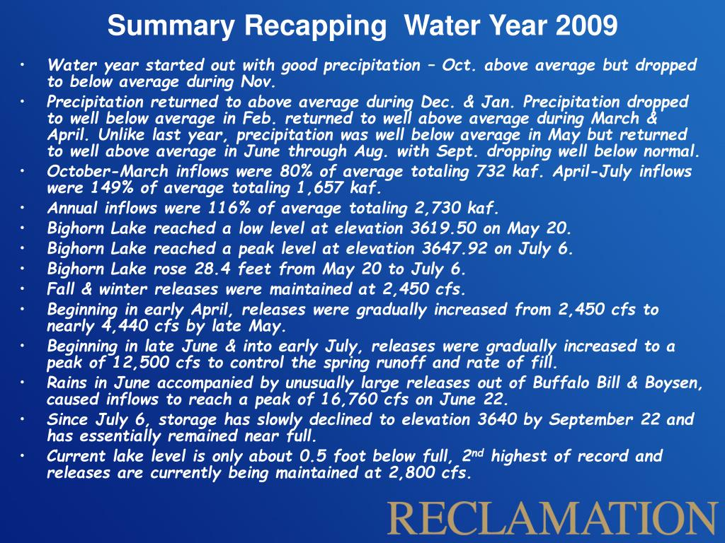 Summary Recapping  Water Year 2009