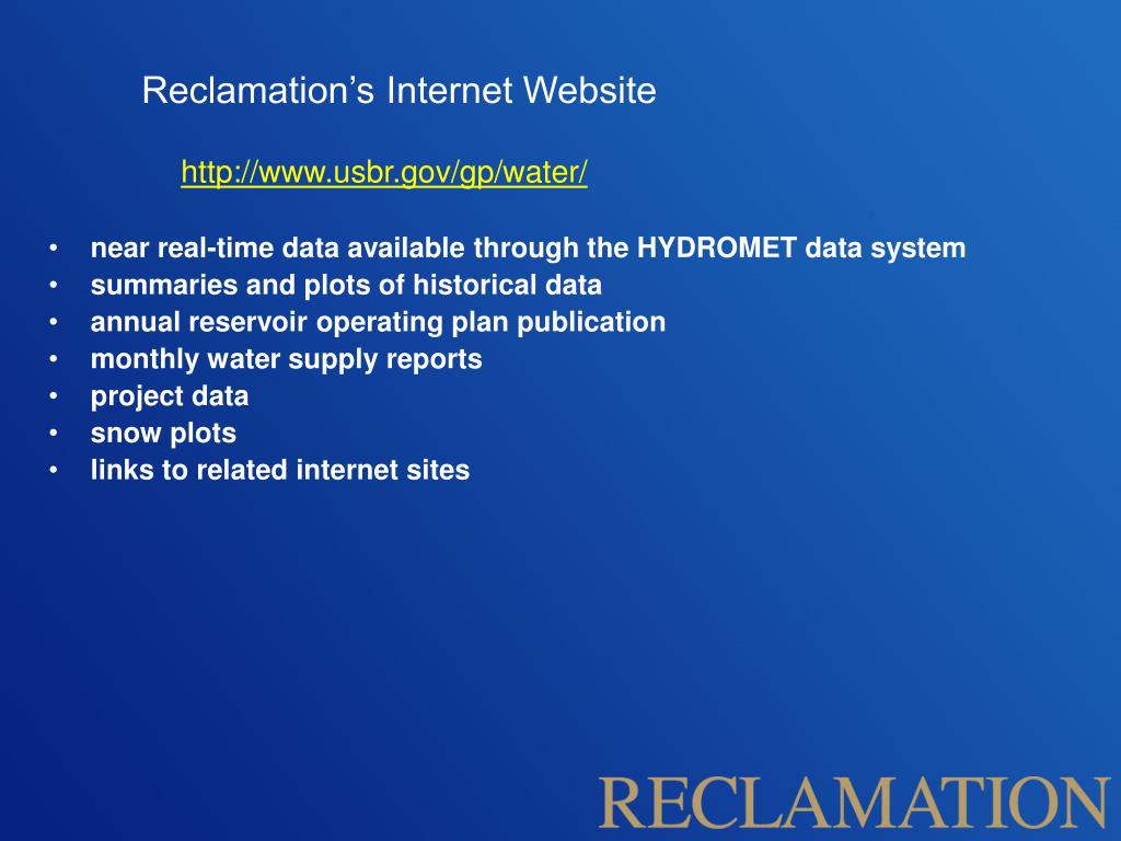 Reclamation's Internet Website