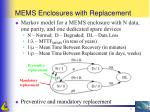 mems enclosures with replacement
