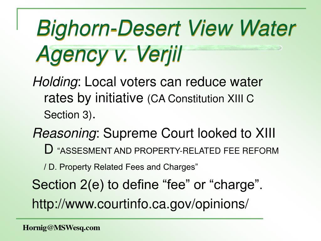Bighorn-Desert View Water Agency v. Verjil