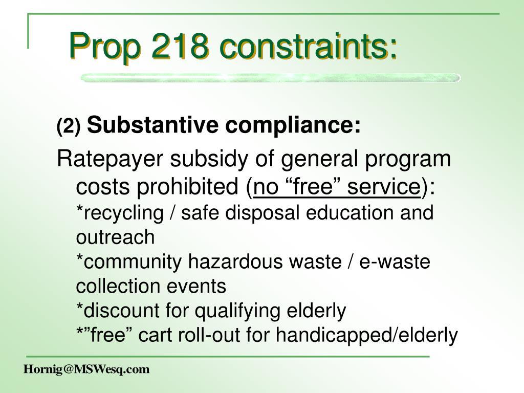 Prop 218 constraints:
