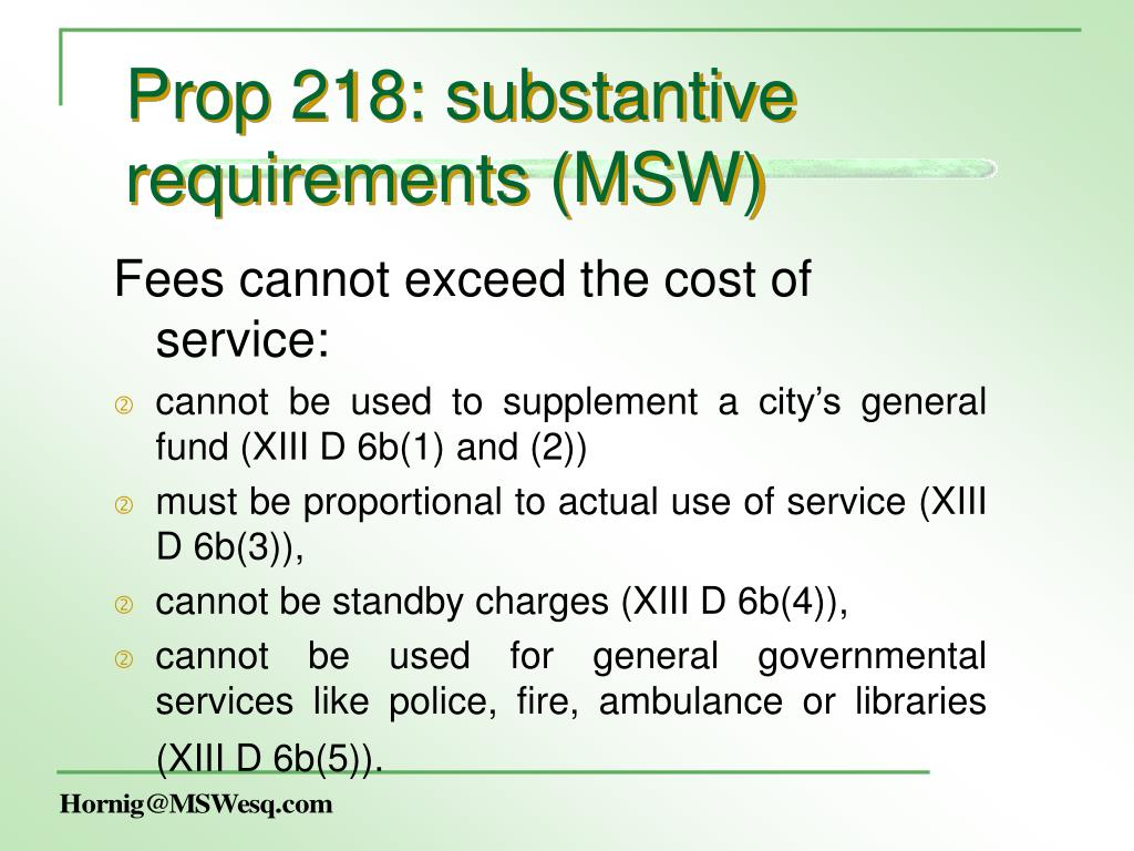 Prop 218: substantive requirements (MSW)