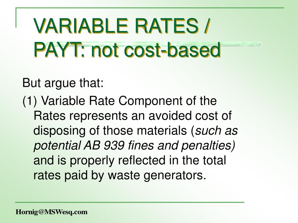 VARIABLE RATES /