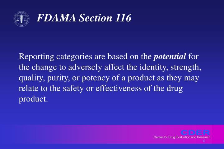 FDAMA Section 116