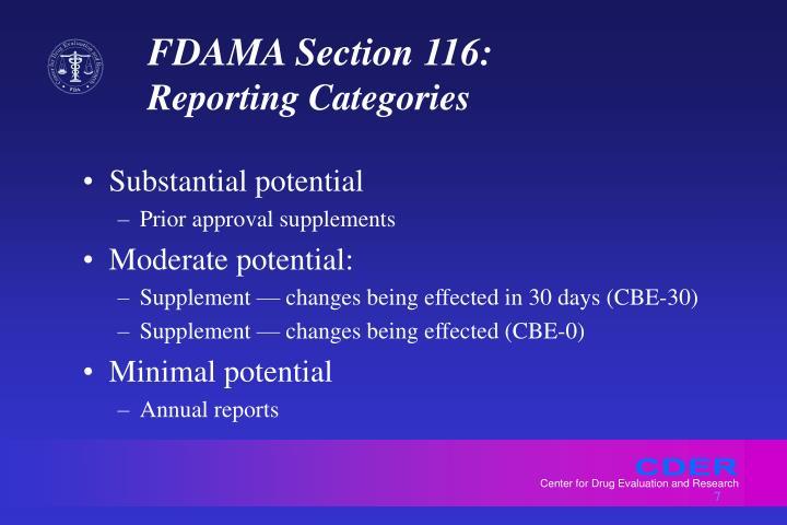 FDAMA Section 116: