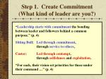 step 1 create commitment what kind of leader are you