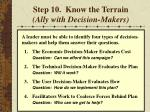 step 10 know the terrain ally with decision makers